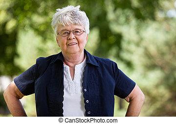verticaal, oude vrouw, zeker