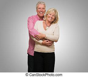 verticaal, paar, middelbare leeftijd , vrolijke