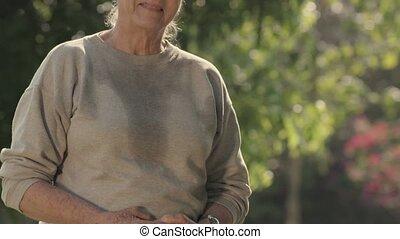 verticaal, paar, park, bejaarden