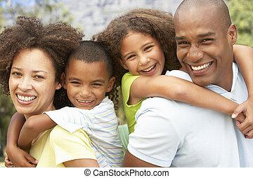 verticaal, park, gezin, vrolijke