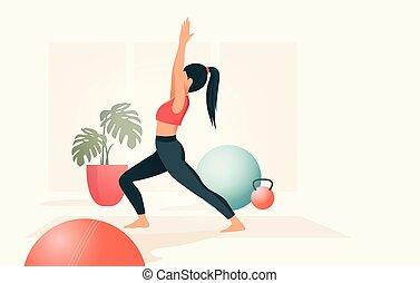 verticaal, praticing, yoga, jonge vrouwen