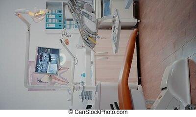 verticaal, stomatology, stoel, vrouw, het bereiden, tandarts, video: