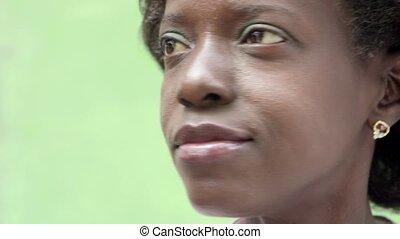 verticaal, vrouw, black , vrolijke
