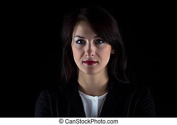 verticaal, vrouw, brunette, zakelijk