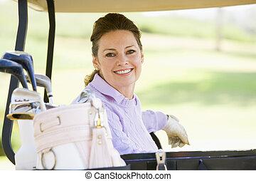 verticaal, vrouw, golf kar, zittende