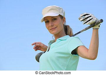 verticaal, vrouw, golf kleren