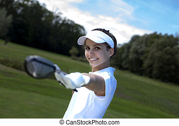 verticaal, vrouw, golf, spelend