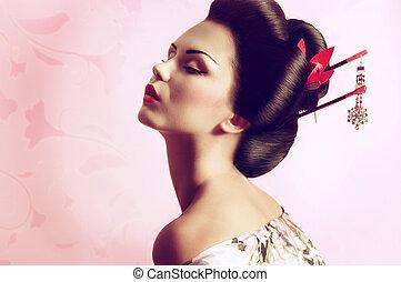 verticaal, vrouw, japanner, geisha