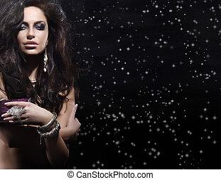 verticaal, vrouw, juwelen, verbazend