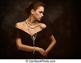verticaal, vrouw, mode, beauty