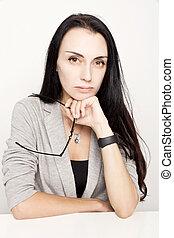 verticaal, woman., brunette