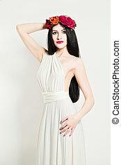 verticaal, woman., mode, elegantie, beauty