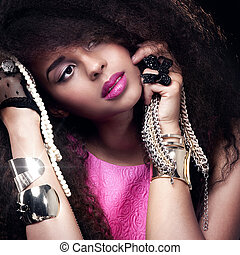 verticaal, woman., mode, jonge, beauty