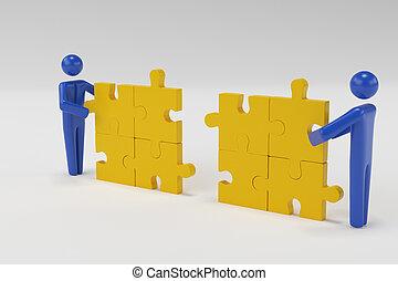 vertolking, kleine, invoegen, man, leest, deel, persoon, puzzle., 3d