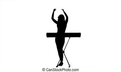 vertragen, dj, keyboards., silhouette., motie, meisje, elektronisch, spelend