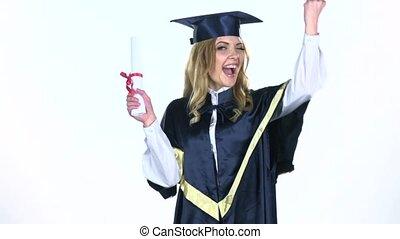 vertragen, graduation., afstuderen, motie, vieren, universiteit, white.