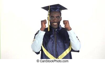 vertragen, het tonen, motion., op, afgestudeerd, thumbs., white., afsluiten, bril
