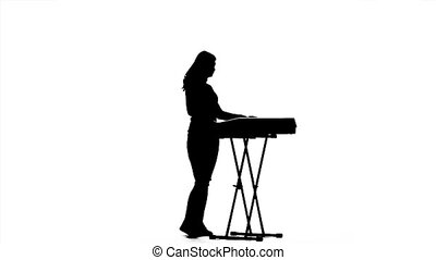 vertragen, silhouette, musicus, motie, piano., meisje, elektronisch, spelend