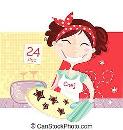 vervaardiging, koekjes, vrouw, kerstmis