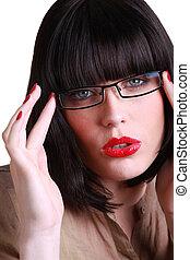 vervelend, brunette, aantrekkelijk, bril