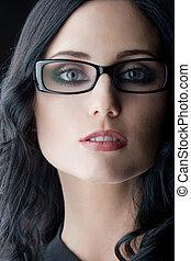 vervelend, brunette, bril