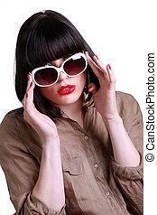 vervelend, brunette, zonnebrillen, aantrekkelijk