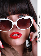 vervelend, close-up, brunette, zonnebrillen