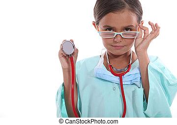 vervelend, grown, ziekenhuis, op, stethoscope, kind, schrobt, bril