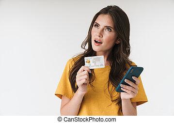 vervelend, kaart, krediet, vrouw, kleren, ongedwongen, brunette, aantrekkelijk, cellphone, vasthouden, beeld