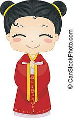 vervelend, weinig; niet zo(veel), chinees, cheongsam, nationale, kostuum, meisje
