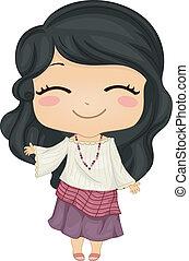 vervelend, weinig; niet zo(veel), filipina, nationale, kostuum, meisje, kimona