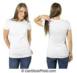 vervelend, wit hemd, vrouwlijk, leeg
