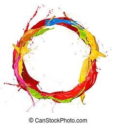 verven, gekleurde, cirkel, plonsen, achtergrond, vrijstaand, witte