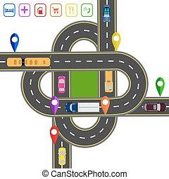 vervoer, hub., abstract, map., illustratie, infographics., voorwerpen, gevarieerd, straat, kruisingen, beroemd, vervoeren, roads.