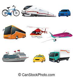 vervoer, publiek, iconen