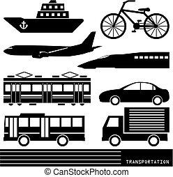 vervoer, silhouette