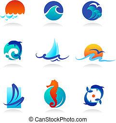 verwant, iconen, zee, verzameling