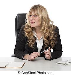 verward, businesswoman, frons, onzeker