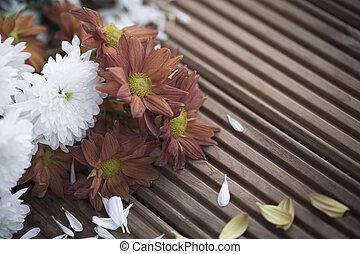 verwelkte, bloemen, gevallen, sterven, kroonbladen