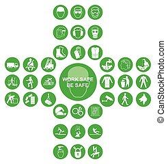 verzameling, cruciform, gezondheid, pictogram, groene, veiligheid