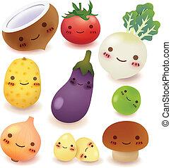 verzameling, fruit, groente