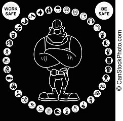verzameling, gezondheid, veiligheid, witte , circulaire, pictogram