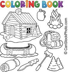 verzameling, kleuren, buiten, boek, voorwerpen