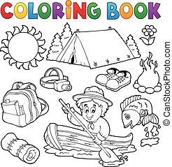 verzameling, zomer, buiten, kleurend boek