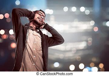 via, jonge, koptelefoon, muziek, aziaat, luisteren, man