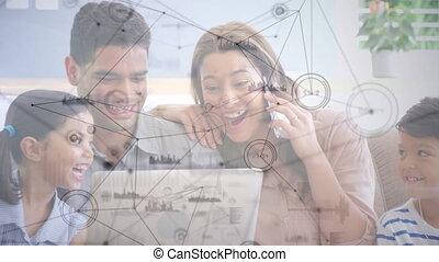 video, aansluitingen, hebben, tegen, roepen, familie huis, draagbare computer, netwerk