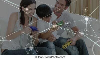 video, achtergrond., aansluitingen, animatie, spel, kaukasisch, op, gezin, spelend, web