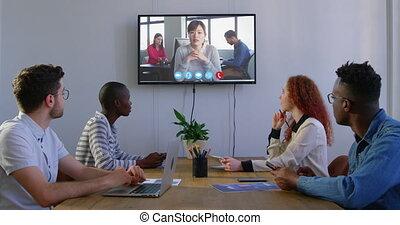 video, creatief, vergadering, moderne kamer, collega's, conferentie, kantoor, zakelijk