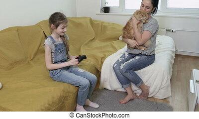 video, relaxen, speelspelen, thuis, gezin