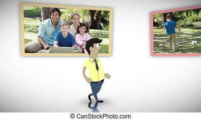 video's, park, gezin, vrolijke